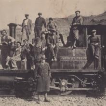 Lavoratori della Direttissima nei pressi di Mercatale, anni Trenta