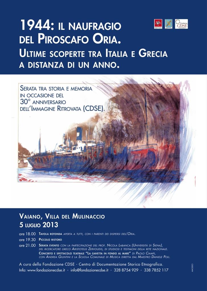 1944: Il naufragio del Piroscafo Oria. Ultime scoperte tra Italia e Grecia a distanza di un anno