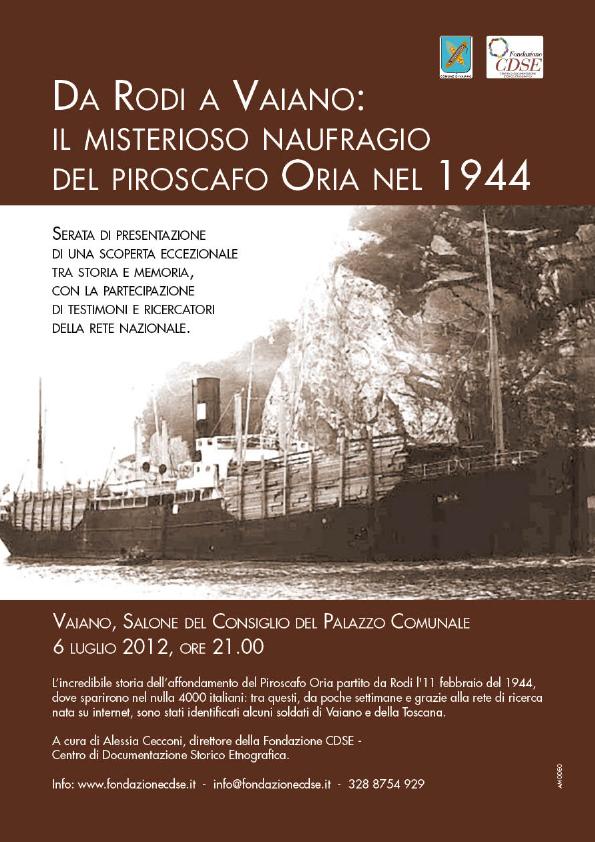Da Rodi a Vaiano: il misterioso naufragio del piroscafo Oria nel 1944